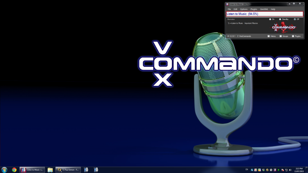 Screenshot of the new VoxCommando look.